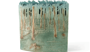 Forest, graphic-ceramics, open worked glazed stoneware. © Elysia Verhoeven, 2014.