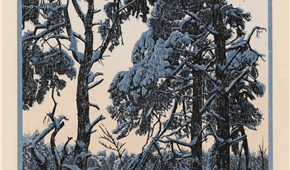 Idumea, Three Trees, winter. colour woodcut. 61 x 27 cm. 2012. ©siemendijkstra2014.