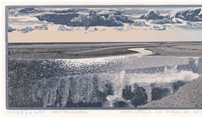Northcape, Skylge-east. colour woodcut 13x42cm, 2012. ©siemendijkstra2014.