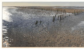 Oethoezer Wad (flooding marshes). colour woodcut 2012. ©siemendijkstra2014