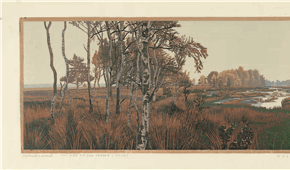 Holtveen 1995-2005, The long forgotten road. colour woodcut 19x83cm 2005, ©siemendijkstra2014.