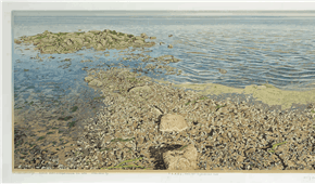 Dutch Shallow near De Cocksdorp, Texel. colour woodcut 35x102cm 2003. ©siemendijkstra2014.
